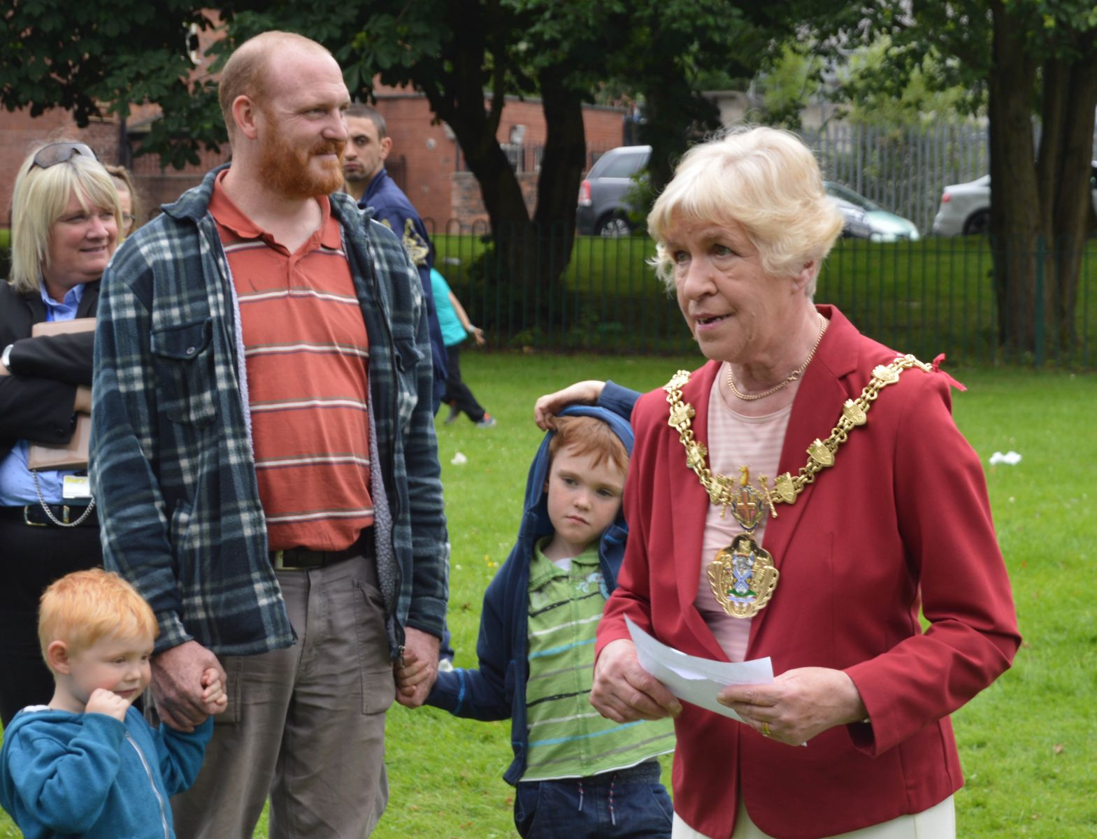 Mayor Dorothy Gunther opens the Summer Roadshow in Hoyles Park, Bury