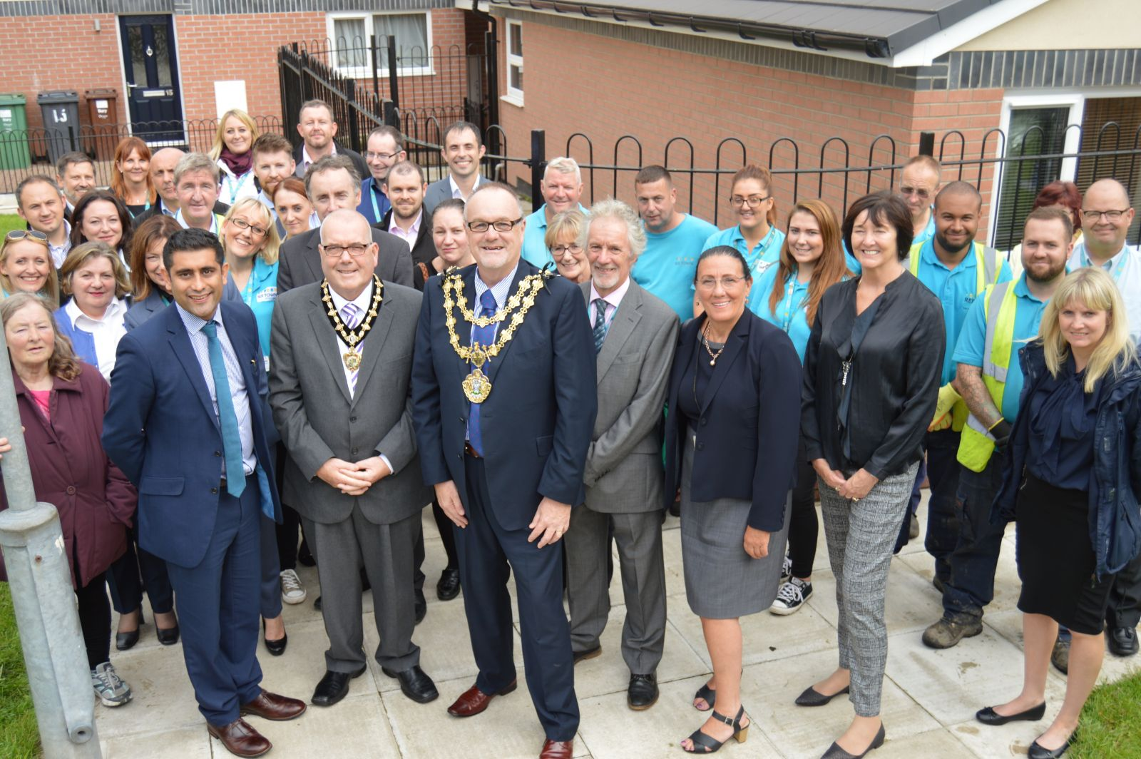 Staff, St Thomas Estate tenants and the Mayor of Bury at the reopening of the estate