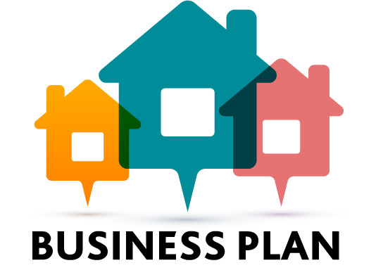 "An icon featuring three houses and the words ""Business Plan."""
