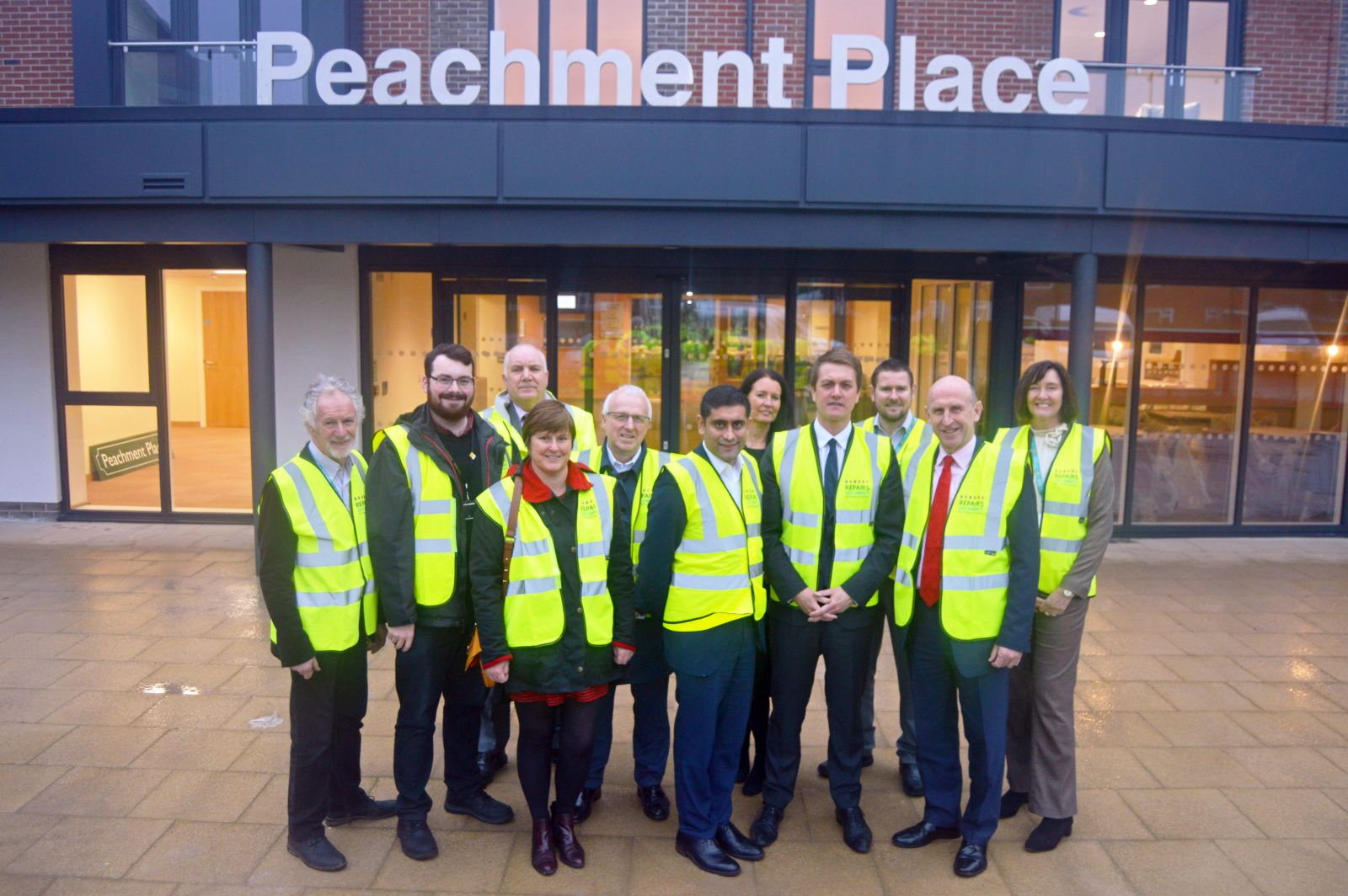 Visitors to Peachment Place, including Bury Council leader Rishi Shori, Six Town Housing CEO Sharon McCambridge, James Frith MP and John Healey Shadow