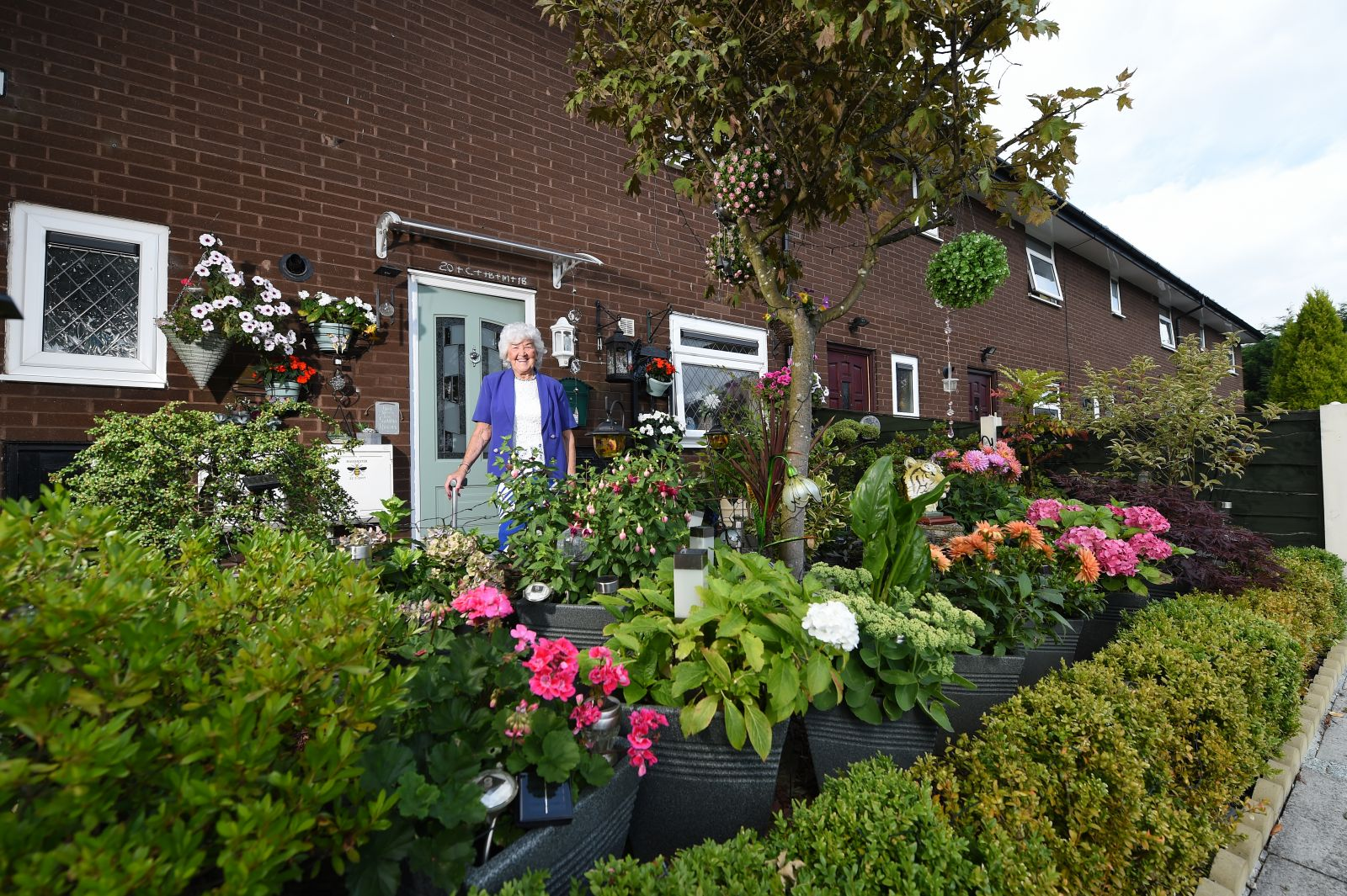 Jean in Radcliffe came first in the Best Pots, Baskets and Small Spaces category in Six Town Housing's Flower Power competition