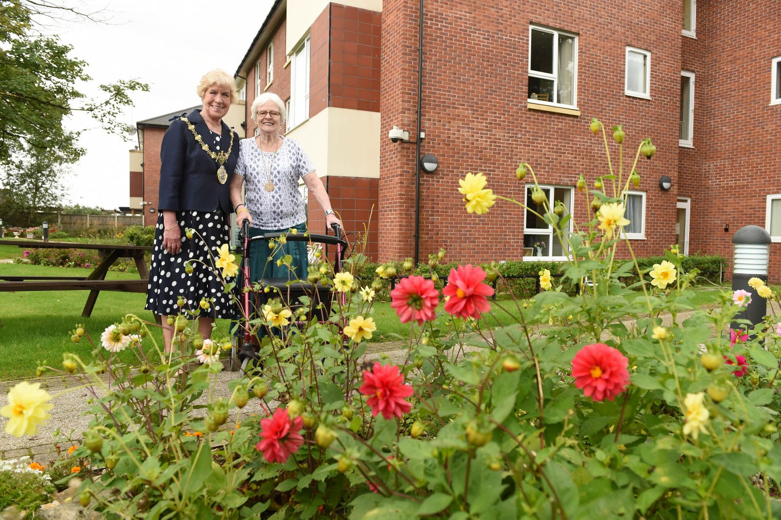 The Mayor Of Bury visits the gardens at Red Bank Extra Care Scheme
