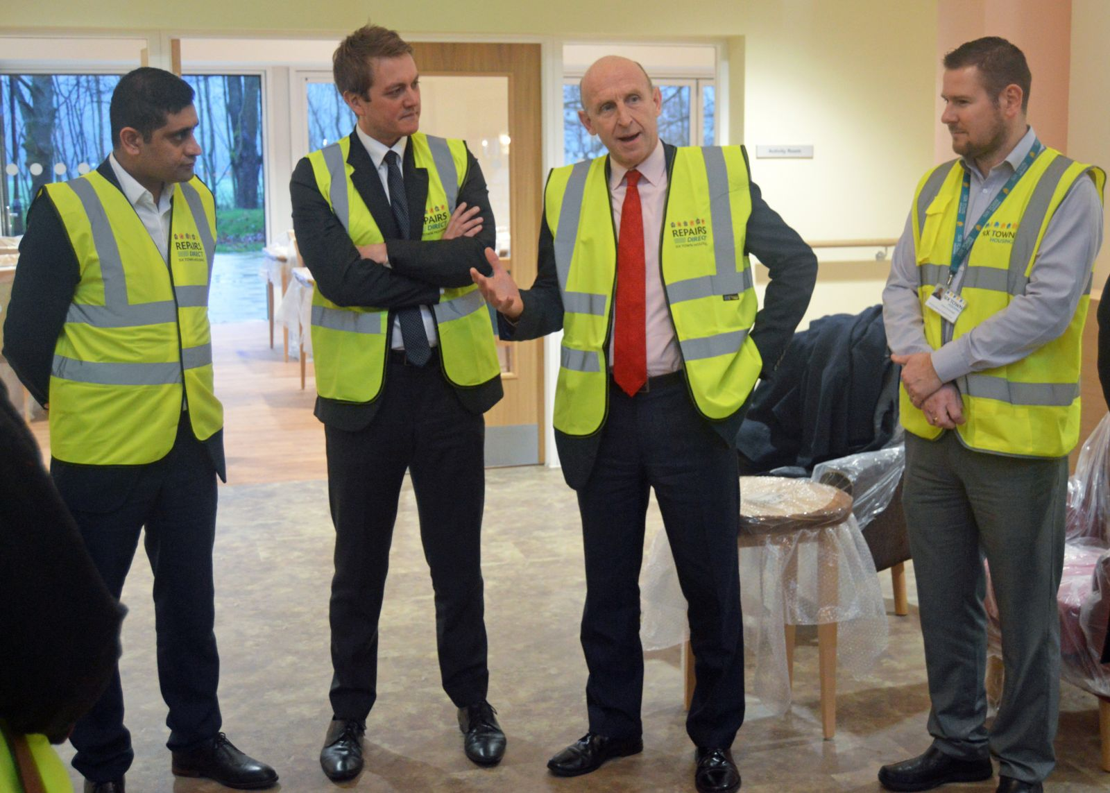 Council leader Rishi Shori, James Frith MP, Shadow Housing Minister John Healey and Adam Greenhalgh (Six Town Housing Business Manager)