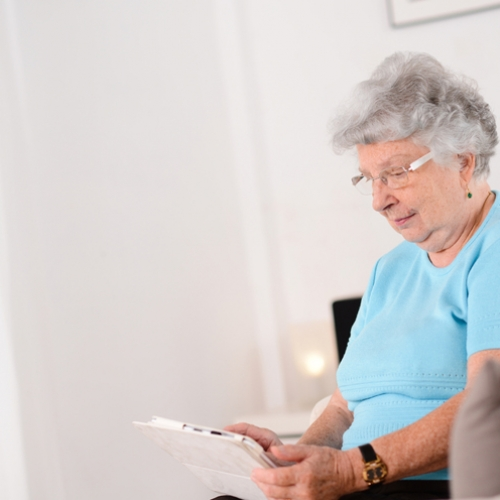 Older woman on a tablet computer